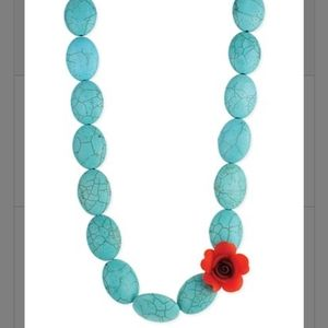 Turquoise Necklace & Bracelet Set With Red Rose